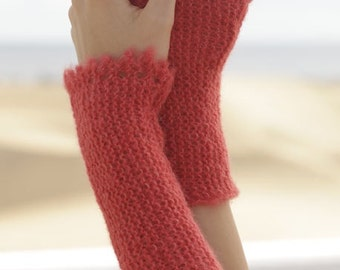 Women handmade hand knit wrist / arm / hand warmers in alpaca wool / silk blend with elegant crochet edge - one size