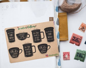 Inspirational coffee cups - decorative vintage look kraft watercolour planner stickers suitable for any planner -494-