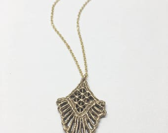 Golden Bronze Filigree Lace Necklace
