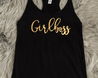 Girl boss Racerback Tank Top Gold // Gift for her, best friend, BFF, motivation shirt, birthday, bridal, bachelorette / 6001