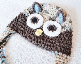 Chocolate Brown Owl Crocheted Beanie Hat Cotton with Tassels Boy Photo Prop By Distinctly Daisy on Etsy