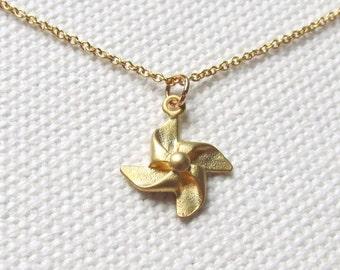 Gold Pinwheel Necklace Dainty Charm Necklace 14k Gold Fill Chain Cute Windmill Jewelry