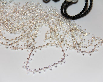 20 cm chain meshed silver metal with white seed beads