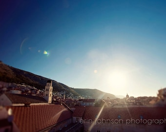 croatia photography, dubrovnik, blue home decor, sunrise, architecture, cityscape, old town, sunflare, europe photography