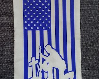 Decal American Flag Permanent Vinyl