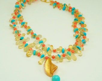 Citrine and Turquoise Coral Necklace