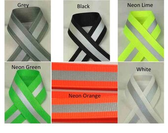 Reflective Glo Grosgrain Ribbon - Silver 3M Scotchlite 8710 Reflective Stripe   Safety Ribbon
