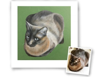 12x12 hand painted custom cat portrait painting on canvas acrylic original pet art from photo Siamese