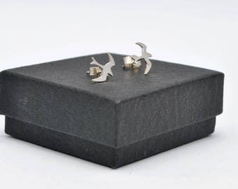 Sterling silver seagull stud earrings