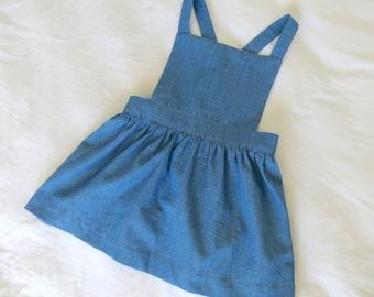 Girls Blue Pinafore Dress, Girls Pinafore Dress, Girls Dress, Blue Dress, Pink Pinafore, Blue Pinafore