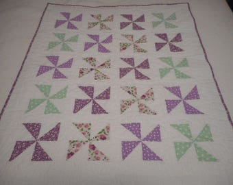 Baby quilt MODERN hand made in the USA