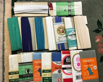 Vintage Bias Tape Single and Double Sewing Trim (Lot of 17)
