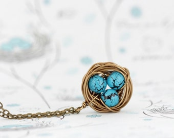Mother Gift - Gift For Mom, Wire Bird Nest Pendant, Turquoise Bead Eggs, Gift for New Mom, Push Present, Grandmother Gift, Woodland Necklace