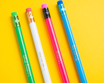 Motivational Pencil Gift Set - Colourful Pencils with Gold Foil Phrases -  Motivational Quote Gift -