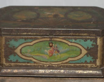 Vintage Artstyle 1940s Chocolate Tin Container