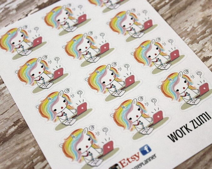 Unicorn Stickers - Unicorn Planner Stickers - Character Stickers - Work Zumi - Work Unicorn stickers - Homework Unicorn Stickers - Work