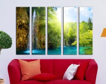 Waterfall Tropical Wall Art Canvas Print Wall decor Canvas wall art Large Canvas Art Set Home decor Green home interior Tree canvas nature
