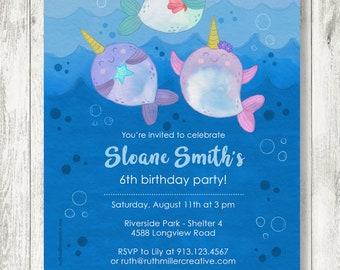 Narwhal Birthday Party Invitation, Printable, Digital File