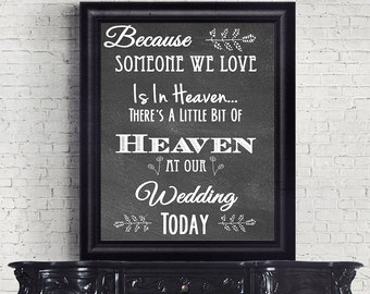 Chalkboard In Loving Memory Wedding Sign || Wedding Sign Print (Not a real chalkboard)
