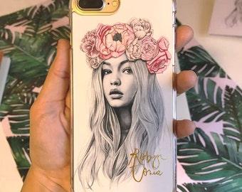 Gigi Hadid flower crown case -iphone5/6/6+/7/7+ -  Iphone 5 case - iphones 6 case - iPhone 6 plus case - iphone 7 case  - iPhone 7 plus case