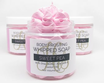 Fluffy Whipped Soap Body Frosting - Sweet Pea - 4oz. - Bath Soap, Body Wash, Shaving Cream, Cream Soap, Soap, Body Soap, Gift For Her, Spa