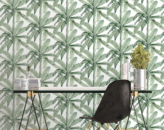 Vintage Banana Leaf Wallpaper - Removable Wallpapers - Floral Print Wallpaper - Self Adhesive Wall Decal - Temporary Peel and Stick Wall Art