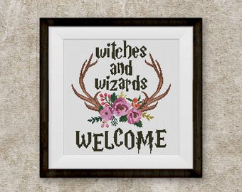 BOGO FREE! Harry Potter Cross Stitch Pattern, Wizards and Witches Welcome, Hogwarts Quote, Floral Antlers xStitch, PDF Download #046-1-16