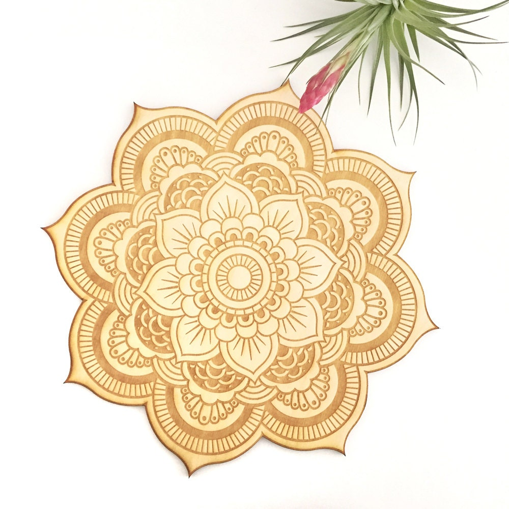Floral Mandala Wood Sign Spiritual Wall Art Wood Mandala