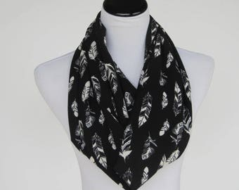 Black scarf Feathers scarf feather print infinity scarf black ivory white feather scarf bohemian LONG scarf loop scarf circle scarf