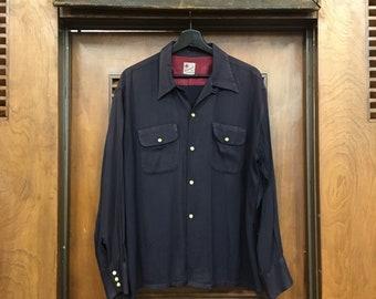 Vintage 1950s XL Black Gabardine Snap Button Lop Collar Rockabilly Shirt, 1950s Shirt, Vintage Shirt, Vintage Clothing