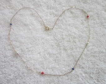 Necklace  Gold Filled with Red White & Blue Beads Chain Necklace