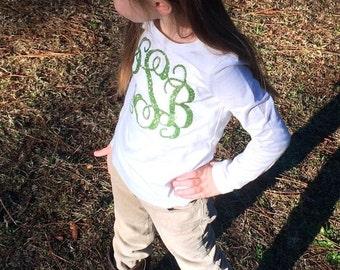 Monogram Shirt and Hair Bow, Monogram Long Sleeve T Shirt, Monogram Hair Bow, Monogrammed gifts, Girls Monogram Shirts and Hair bows