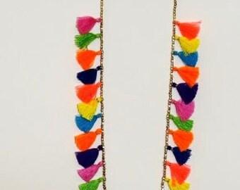 SALE! Boho Multi Tassel necklace/ Multi colored multi tassels & metal bead Necklace/Tassel Necklace/Multi colored necklace/Seed Colour