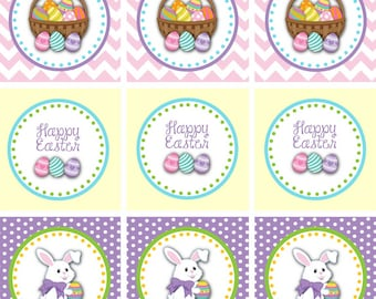 Easter Cupcake Toppers - 2 Inch Printable Easter Favor Tags