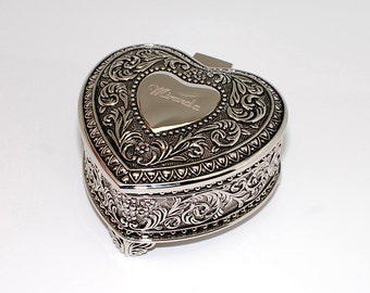 Personalized victorian style jewelry box Engraved antique