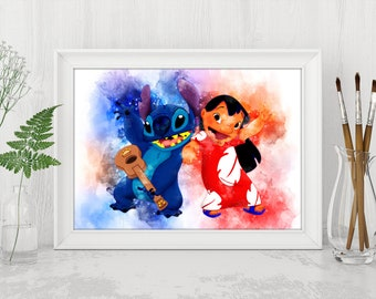 Lilo and Stitch Watercolor Printable Lilo and Stitch Disney Print Disney Lilo and Stitch Instant Download Disney Birthday Printable Art n545
