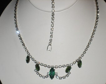 Green Rhinestone Necklace Set, Clear Scallop Pattern, Romantic