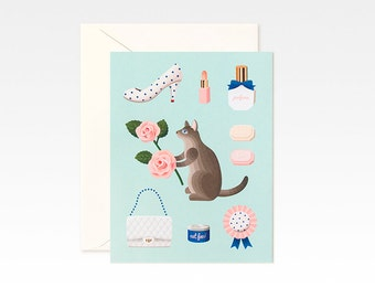 Mint Cat Valentine Card for Valentine's Day