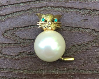 Vintage Signed Marvella Kitty Cat Jewelry Pin Brooch
