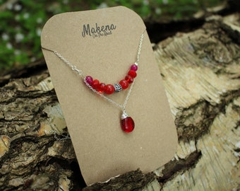 Red Jade and Deep Red Glass Drop Pendant - Root Chakra Balance and Healing