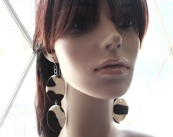 Beautiful  Brown and Tan Felt Fabric Earrings, Ladies Earrings, Women Earrings, Fashion Earrings