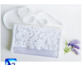 Wedding purse Bridal purse Christening purse Irish lace Satin Bridal clutch Flower Purse Wedding clutch Flower wedding purse LaCigogne bags