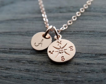 ROSE GOLD Compass Necklace Graduation gifts College Graduation Gift Compass pendant Rose gold Necklace Personalized graduation