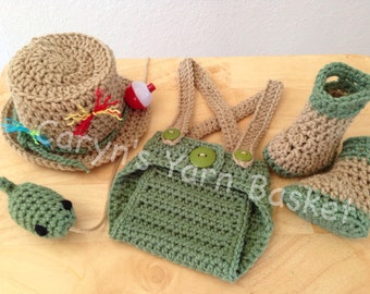 Fishing Fisherman Hat 5 pc Diaper Cover Set w/Waders & Fish, Newborn, 0-3 Months, 3-6 Months, Photography Prop - MADE TO ORDER