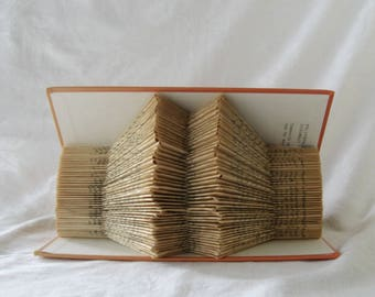Orange Altered book sculpture, book art, book folding art, paper sculpture, folded book decor, book lover gift, paper anniversary gift, home