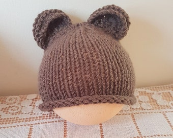 RTS Baby Bear Beanie, baby boy beanie, newborn bear hat, newborn photo prop, baby bear beanie, Knitted beanie, RTS ready to ship. UK seller