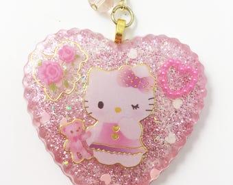 hello kitty keychain, hello kitty charm, kawaii charm, kawaii keychain, cat keychain, cat charm, pink charm, pink keychain, purse charm