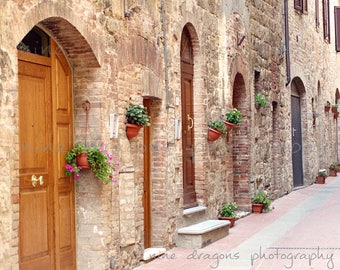 Streets in Italy Wall Art, Italian Doors Rustic Italian Print Large, Rustic Wall Decor,Italian Photography,Door Print Pink,Tuscany Italy Art