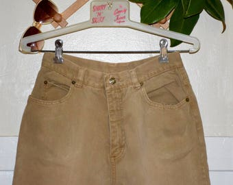 "Vintage 80's High Waisted Beige Tan Denim Mom Jean Pants 28"" Waist"