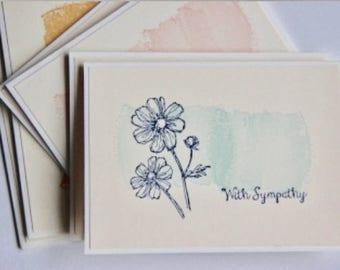 6 Sympathy Greeting Cards.  Sympathy Card Set. Condolence Cards. Sympathy Note Cards.  Blank Sympathy Cards. Handmade Sympathy Cards